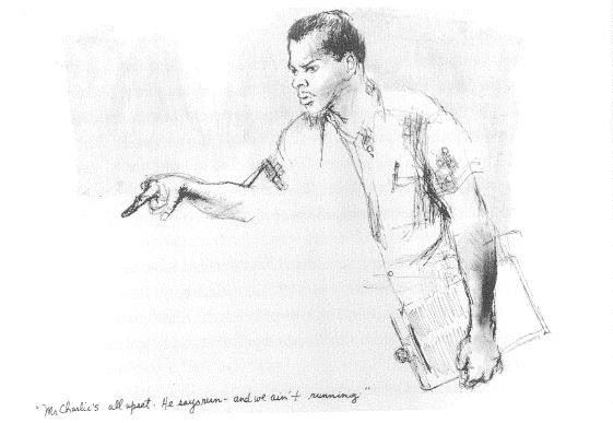 Charles McLaurin in 1964, as drawn by Tracy Sugarman. - FROM WE HAD SNEAKERS, THEY HAD GUNS