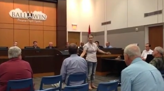 """This is what an atheist looks like,"" Nikki Moungo tells the Ballwin City Council. - YOUTUBE"