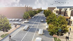 """An architectural rendering of the new, improved South Grand Boulevard, a model for other St. Louis """"Complete Streets."""" - DESIGN WORKSHOP"""