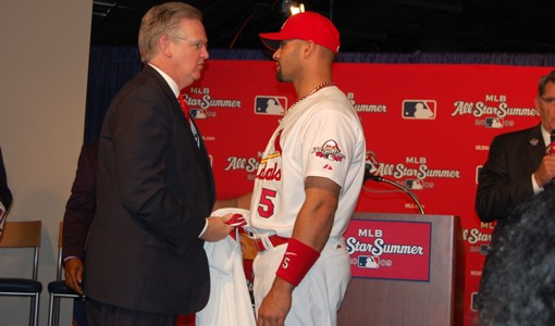 Is Albert Pujols sizing up Governor Jay Nixon in this photo op? - PHOTO: NICK LUCCHESI
