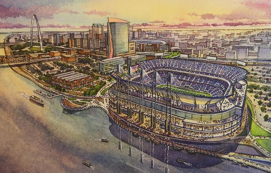 An illustration of the proposed Rams stadium -- but we have some ideas to make it more awesome. - BILL GREENBLATT/UPI