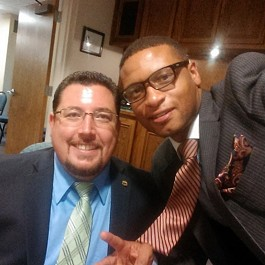 James with Ferguson mayor Knowles. - INSTAGRAM.COM/DEVINJAMESGROUP