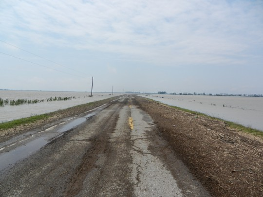Some roads on the Missouri side of the Mississippi River were closed after the Army Corps blew up a nearby levee.