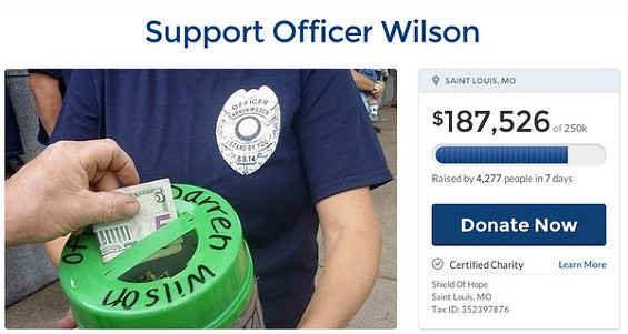 Officer Darren Wilson's second GoFundMe fundraising page. - VIA GOFUNDME