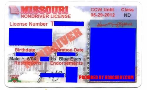 Missouri concealed-carry permit endorsement in question. - VIA