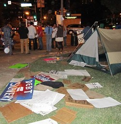 A scene from inside the Kiener Park occupation on Tuesday night. - PHOTO: CHAD GARRISON