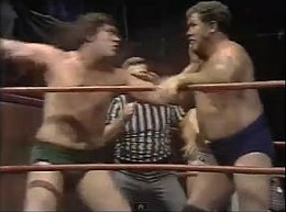 Ted DiBiase and Harley Race battle it out at the Chase Park Plaza, circa the late 1970s. - IMAGE VIA