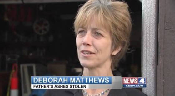Take note: This is the precise expression to wear when explaining the theft of your father's ashes. - KMOV