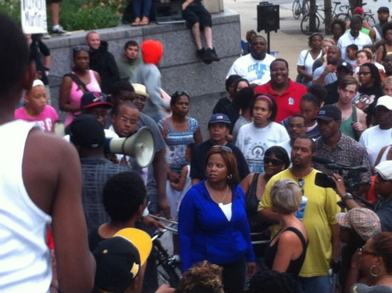 State Senator Jamilah Nasheed, center, who opened and closed the rally with speeches. - LEAH GREENBAUM