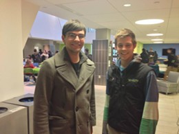 Philip Thomas, left, and Andrew Hess, right, at Wash. U's engineering school lounge.