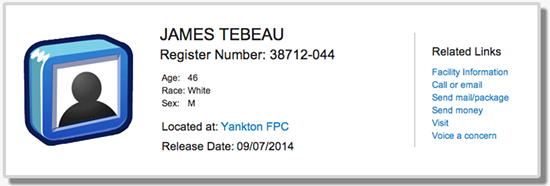 Jimmy Tebeau's federal release date record. - BUREAU OF PRISONS
