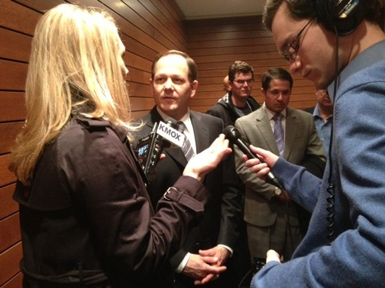 Francis Slay talking to reporters after a mayoral debate. - SAM LEVIN