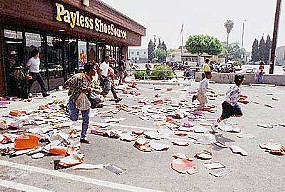 Okay, so it's a picture of a riot in LA, not Detroit. Still, it's too funny to pass up, because these people are looting a Payless Shoes, which is actually more expensive than shopping at a Payless.