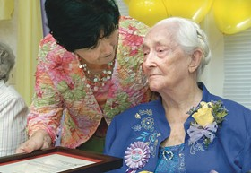 Florence Poe, until Sunday the oldest living Missourian, in 2006, on her 109th birthday. - IMAGE SOURCE