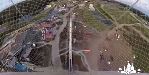 Verruckt has 264 steps leading to the top, where four-person rafts will take riders down at 65 mph. - YOUTUBE