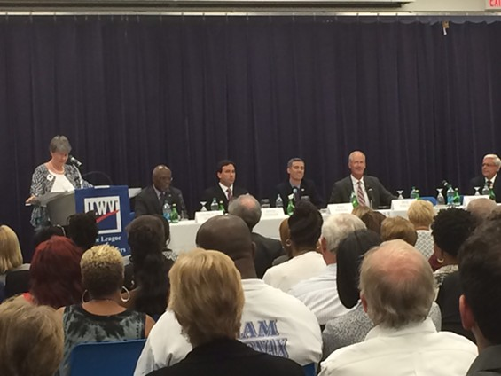 Candidates for county executive debate at the League of Women Voters forum. - LINDSAY TOLER