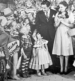 Mickey (far left) on the set of Wizard of Oz.