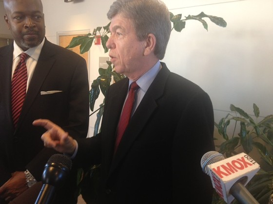 Roy Blunt talking to reporters in February. - SAM LEVIN