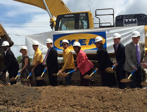 Missouri officials break ground on the new IKEA store in St. Louis. - LINDSAY TOLER