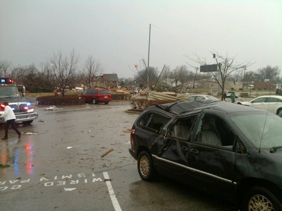A photo of tornado damage, taken by employees of the Sunset Hills Massage Envy. - COURTESY OF MASSAGE ENVY