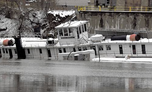 The partially submerged Becky Thatcher on Monday. - COURTESY POST-GAZETTE