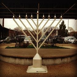 At Market in the Loop, a menorah is ready to get all lit up on Saturday night.