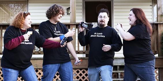 The St. Louis Ghost Hunters (l-r): Lindsey Piech, Adam Gummersheimer, Eric Bequette and Jen Leggett. - JENNIFER SILVERBERG