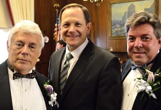 Bruce Yampolsky and Terry Garrett with Mayor Slay.