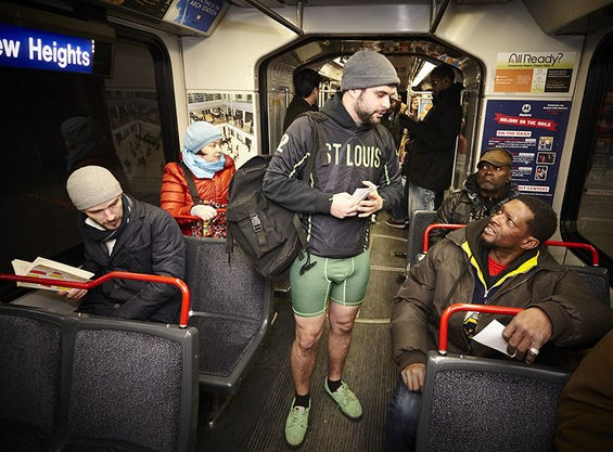 For more photos from the 2015 St. Louis No Pants MetroLink Ride, check out our Riverfront Times slideshow. - ALL PHOTOS BY STEVE TRUESDELL