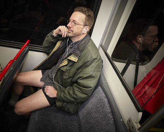 """""""Oh, don't mind me. I'm just listening to music and wondering why my legs feel cold."""""""