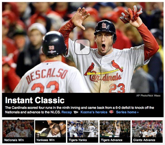 SCREEN SHOT OF THE ESPN MLB HOMEPAGE. IF THE NATIONALS WON, WHY IS DAVID FREESE SO HAPPY?