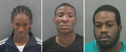 Left to right: Trevin Johnson, Durell Dorn and Walter Nickels should be considered armed and dangerous.