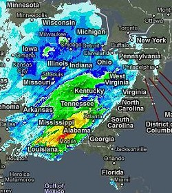 This radar image from yesterday put a damper on Fat Tuesday in St. Louis and New Orleans.