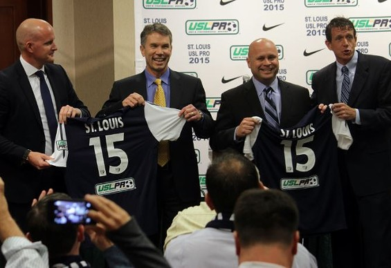 The execs behind St. Louis' new pro soccer team (from left to right): USL Pro VP Jake Edwards, Jim Kavanaugh and Tom Strunk of SLSG, USL Pro president Tim Holt - DANNY WICENTOWSKI