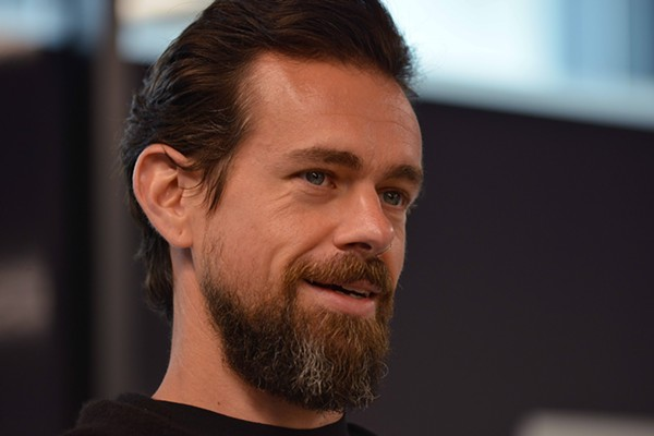 Jack Dorsey speaks to media, family members and colleagues while unveiling the Square Terminal. - TOM HELLAUER
