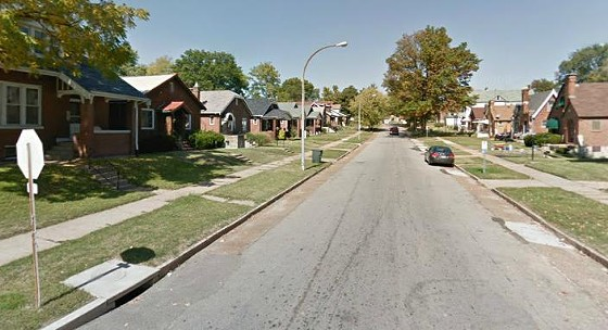 The 8600 block of Park Lane where the victim's car came to a halt in a front yard.