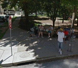 Google Street View captures some urban campers in Lucas Park.
