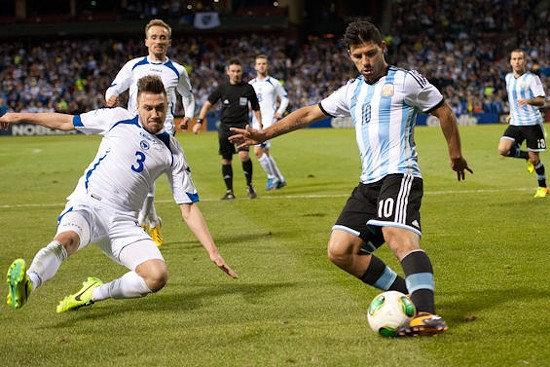 Sergio Aguero, one of the top players in the English Premier League, plays Bosnia-Herzegovina at Busch Stadium. - JON GITCHOFF