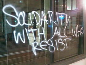 The protesters' handiwork at Fifth Third Bank on Olive St. - PHOTO BY NICHOLAS PHILLIPS