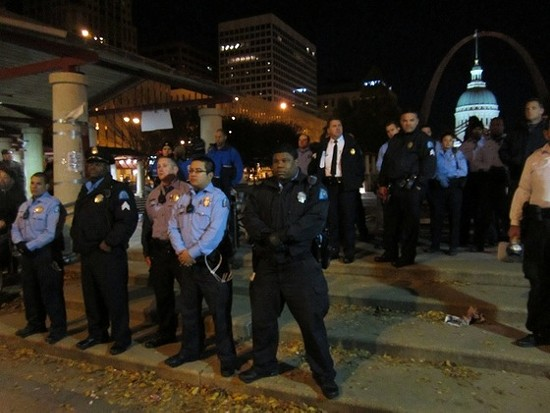 File photo of police in Kiener Plaza last year. - TONY D'SOUZA FOR RFT