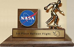 Even though it comes from NASA, this balloon flight trophy looks suspiciously repurposed. - IMAGE VIA