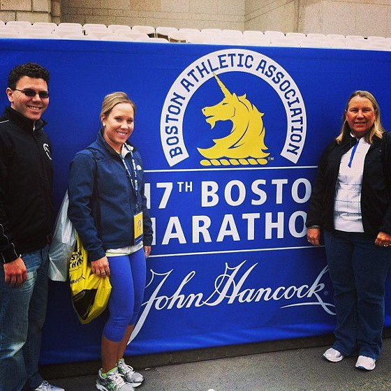 Marty and Micah Little with their mother at the finish line the day before the race. - COURTESY OF MARTY LITTLE