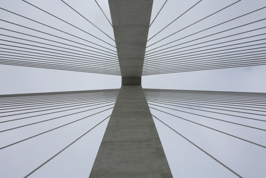 Looking straight up at the Missouri tower of the Stan Span