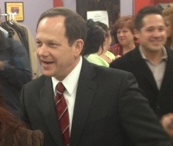 Mayor Slay at his campaign headquarters on Tuesday. - SAM LEVIN