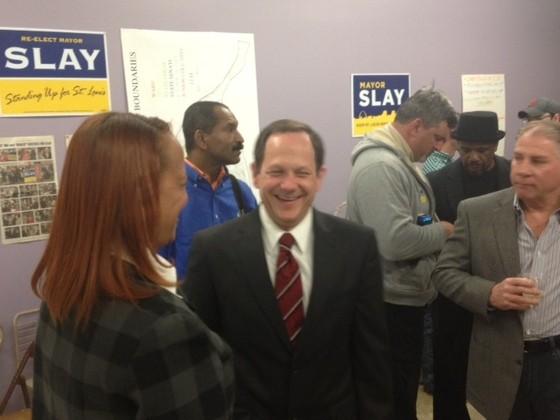 Slay celebrating his reelection on Tuesday. - SAM LEVIN