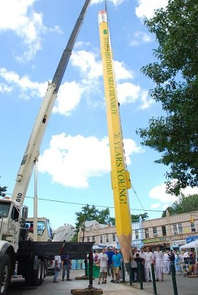 The World's Largest Pencil is about to be joined by the World's Largest Seesaw at the City Museum. - IMAGE VIA