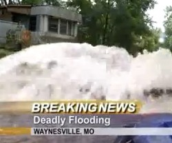 Flooding in Waynesville. - VIA KY3.COM FOOTAGE