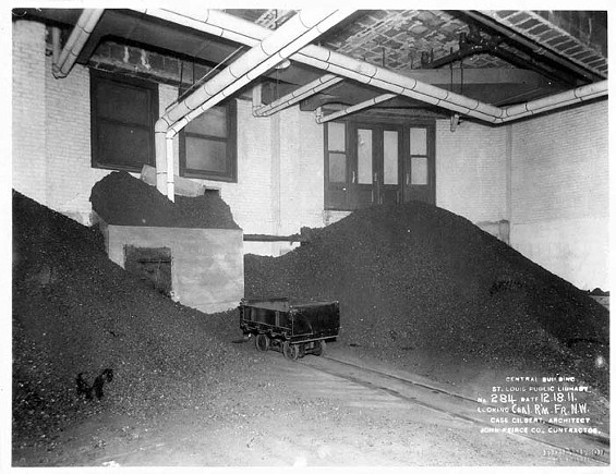 The library's basement in 1911, when it was used to store coal. - ST. LOUIS PUBLIC LIBRARY