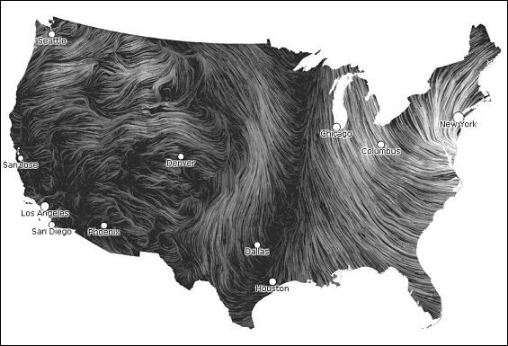 The wonderful national wind map. Do you see that dark strip where there's almost no wind? That's where we are. - IMAGE VIA