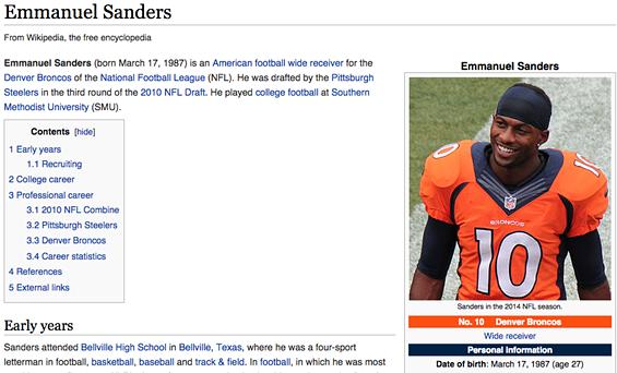 Emmanuel Sanders was declared dead on his Wikipedia page. - WIKIPEDIA